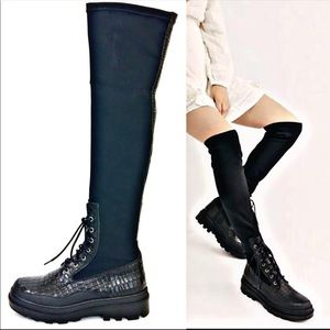 FREE PEOPLE Over the Knee Fitted Leather Croc Boot
